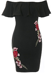 Off Shoulder  Flounce  Embroidery Patch Bodycon Dress