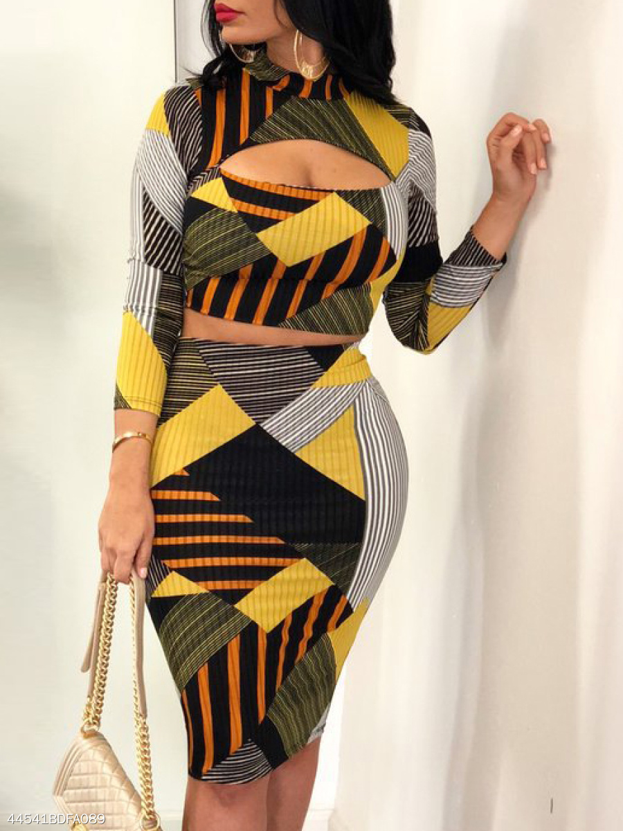 Round Neck  Abstract Print Geometric Bodycon Dress