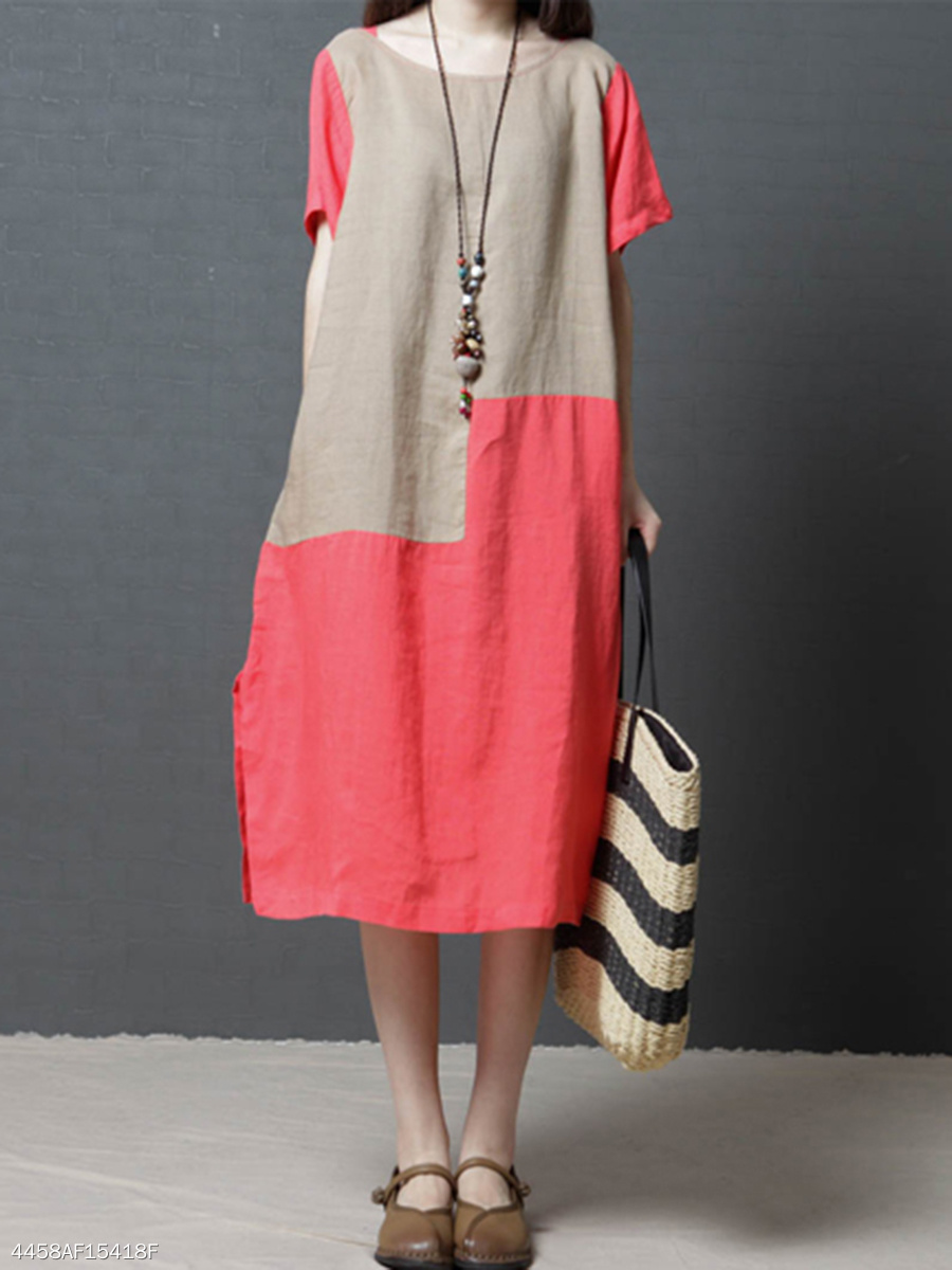 Round Neck  Color Block Colouring Shift Dress