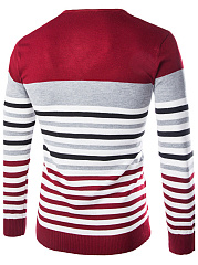 V-Neck Striped Men'S Sweater