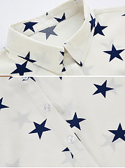 Summer  Polyester  Women  Turn Down Collar  Single Breasted  Star  Short Sleeve Blouses