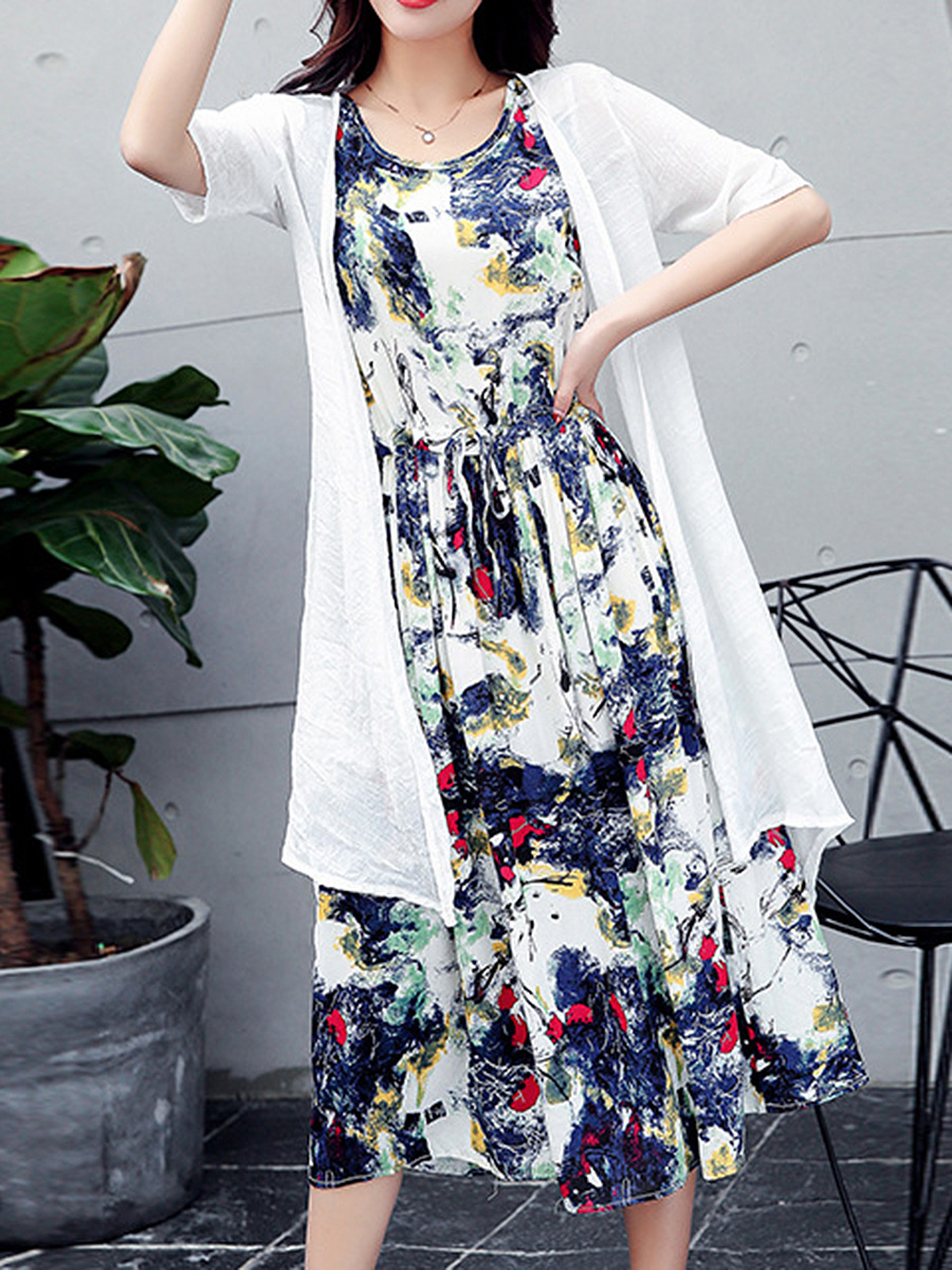 Abstract Print Round Neck Drawstring Two-Piece Maxi Dress