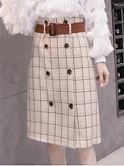 Plaid-Double-Breasted-Straight-Midi-Skirt