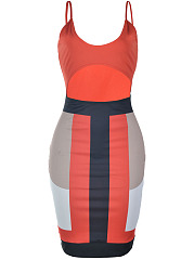 Sexy Cutout Color Block Spaghetti Strap Bodycon Dress