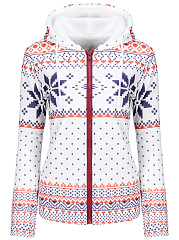 Hooded Christmas Snowflake Polka Dot Fleece Lined Coat