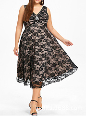 V-Neck  Floral Lace Plain Plus Size Midi  Maxi Dresses