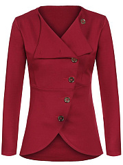 Solid-Diagonal-Buttons-Long-Sleeve-Blazer
