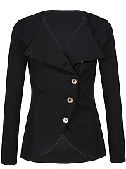 Solid Diagonal Buttons Long Sleeve Blazer