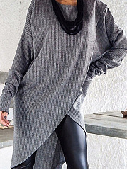 Autumn Spring Winter  Cotton  Women  Round Neck  Plain Striped Long Sleeve T-Shirts