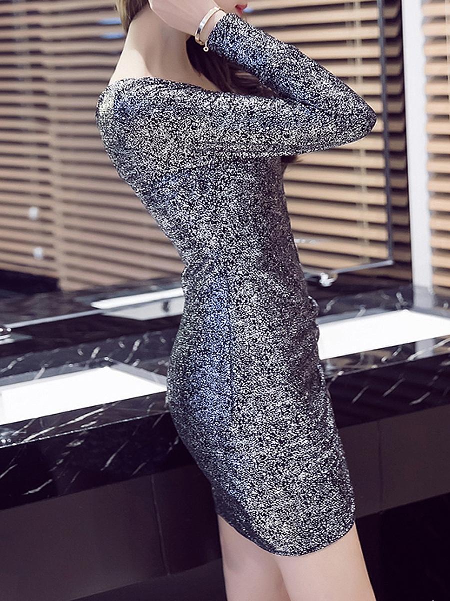 Deep V-Neck  Plain  Polyester Bodycon Dresses