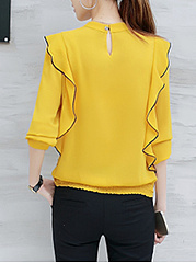Autumn  Chiffon  Band Collar  Contrast Trim Elastic Waist Flounce  Long Sleeve Blouses