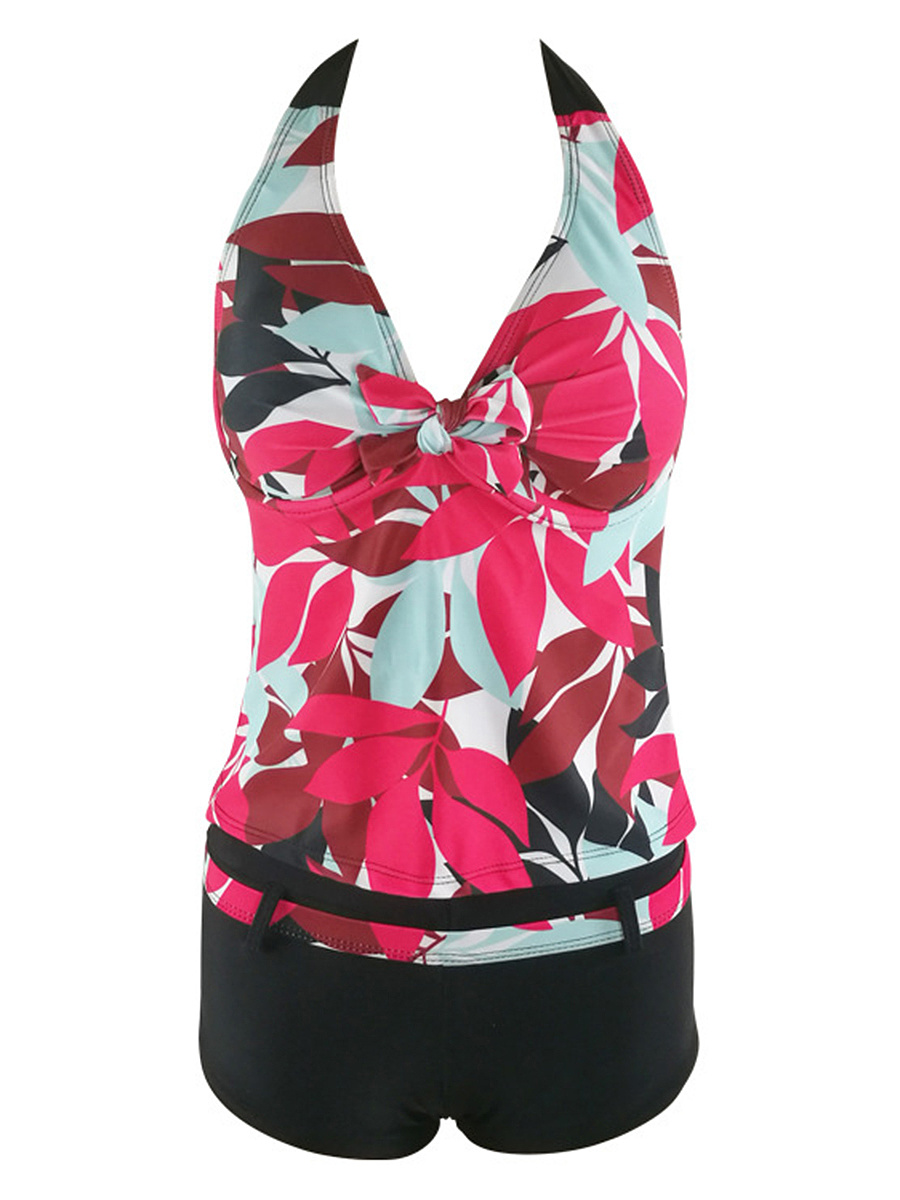 Halter Leaf Printed Swimwear