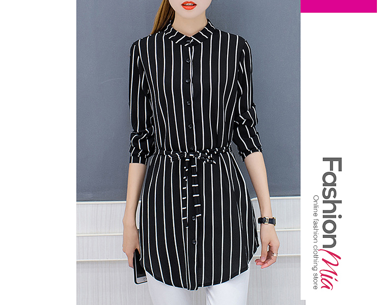 Autumn Spring  Cotton  Women  Band Collar  Single Breasted  Striped  Long Sleeve Blouses