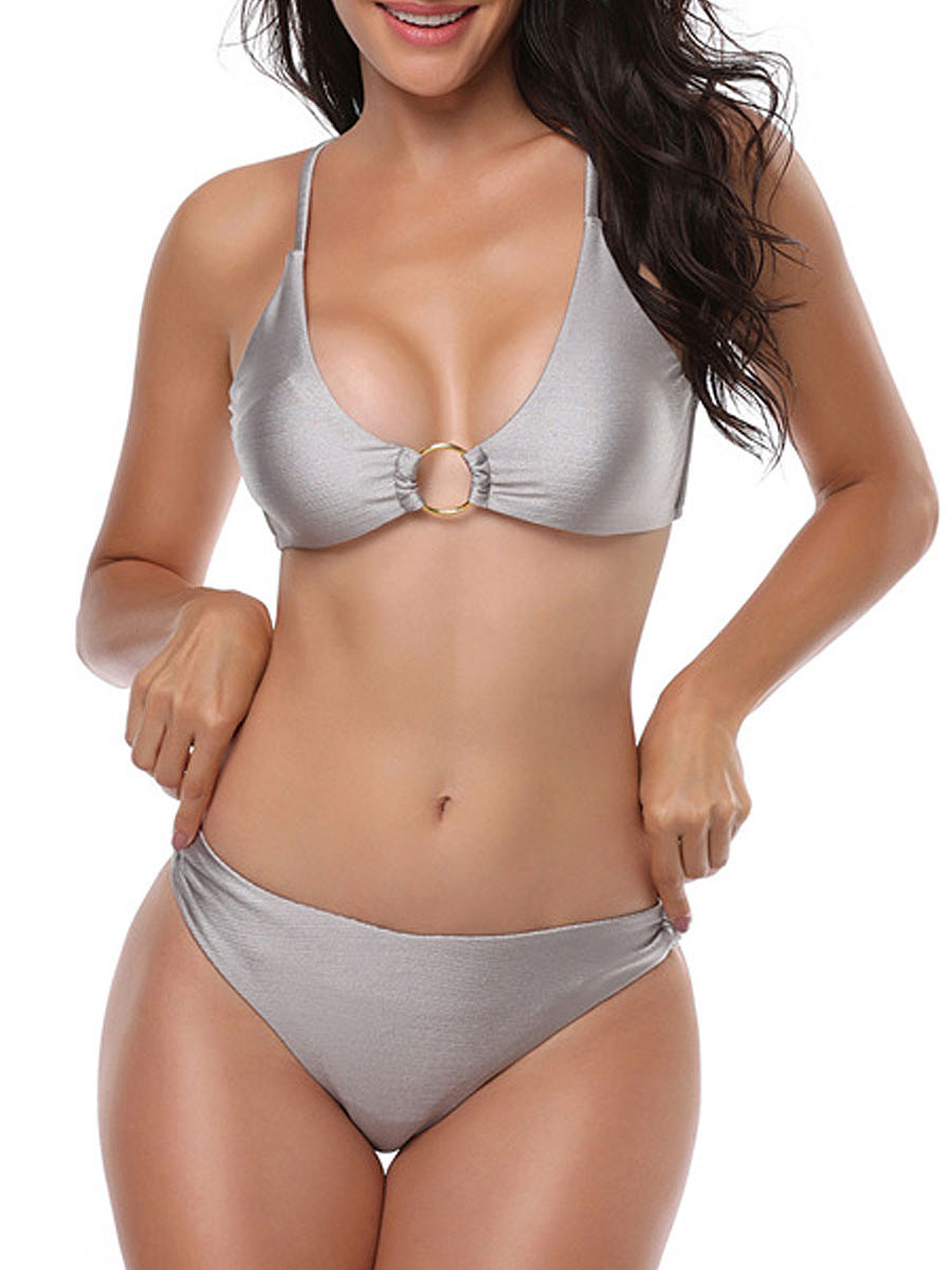 2018 New Style Plain  High-Rise Bikini For Women