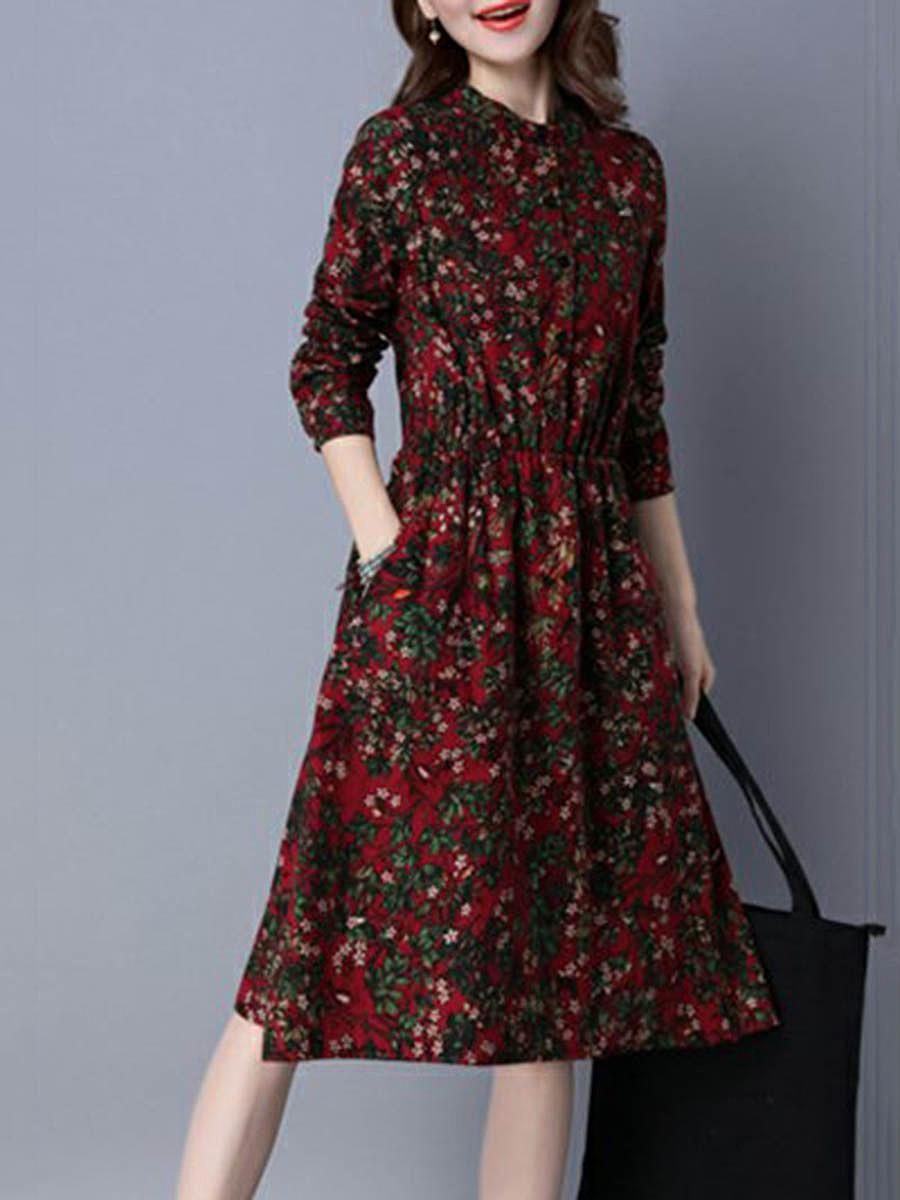 Band Collar Pocket Floral Printed Midi Skater Dress