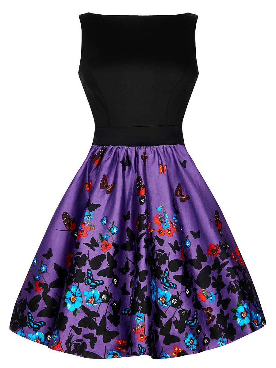 Boat Neck Bowknot Butterfly Printed Skater Dress