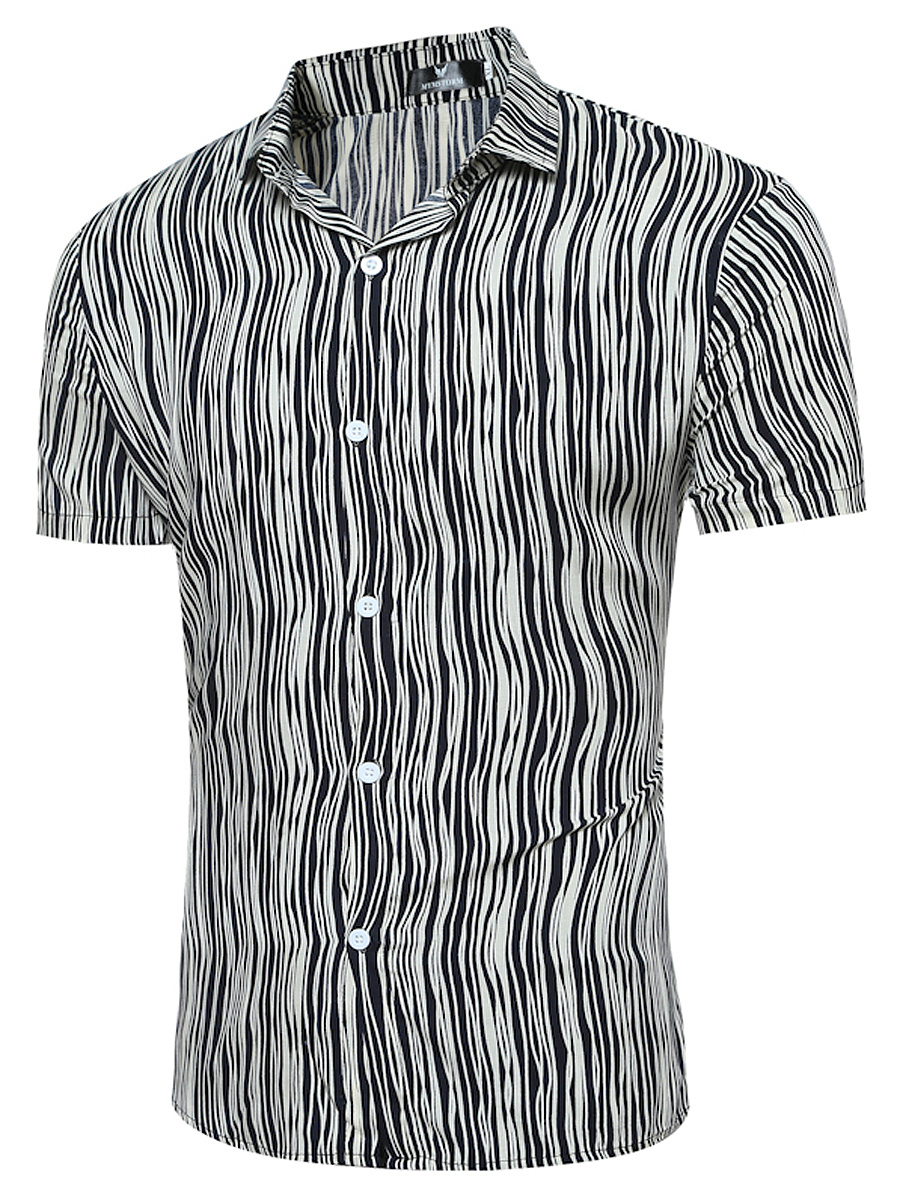 Fold-Over Collar  Asymmetric Stripe  Short Sleeve Short Sleeves