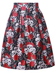 Elastic-Waist-Designed-Printed-Flared-Midi-Skirt
