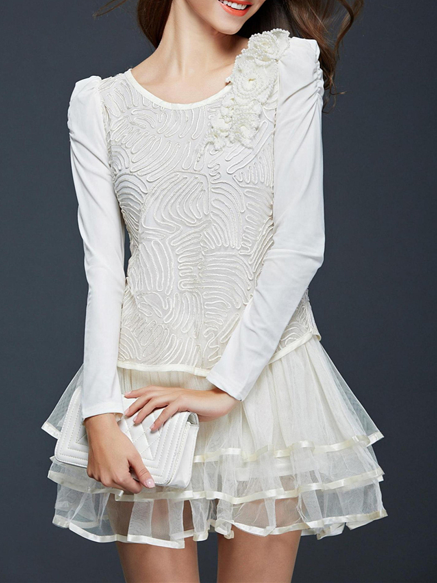 Round Neck  Beading  Tiered  Plain Casual Dresses