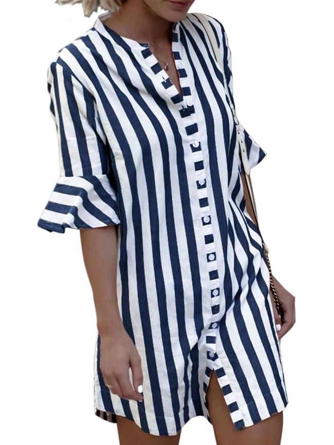 Image of Fashionmia Band Collar Printed Polyester Shift Dress