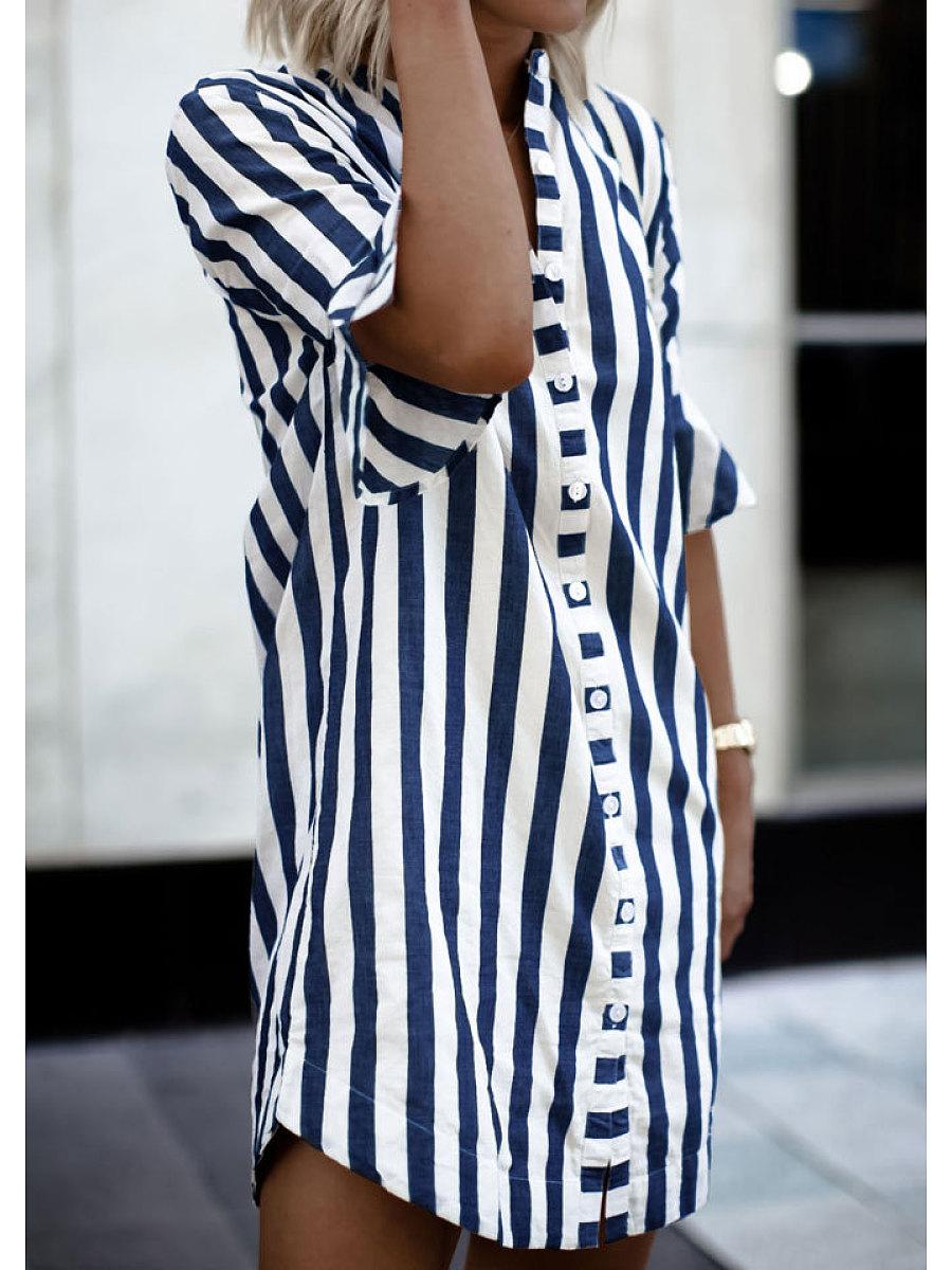 Band Collar  Printed  Polyester Shift Dress