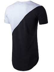 Round Neck  Curved Hem  Color Block  Short Sleeve Short Sleeves T-Shirts