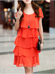 Summer Chiffon Layer Cake Skirt Loose Skirt Elegant Shift Dress