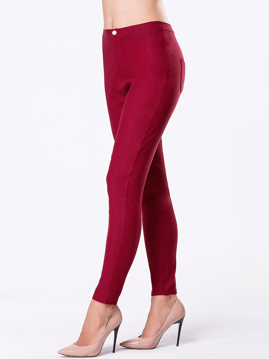 Patch Pocket  Plain Slim-Leg Mid-Rise Leggings