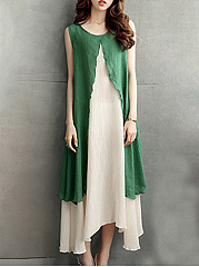 Round Neck  Asymmetric Hem Slit  Color Block Maxi Dress