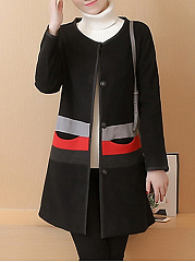 Collarless  Striped  Long Sleeve Coats