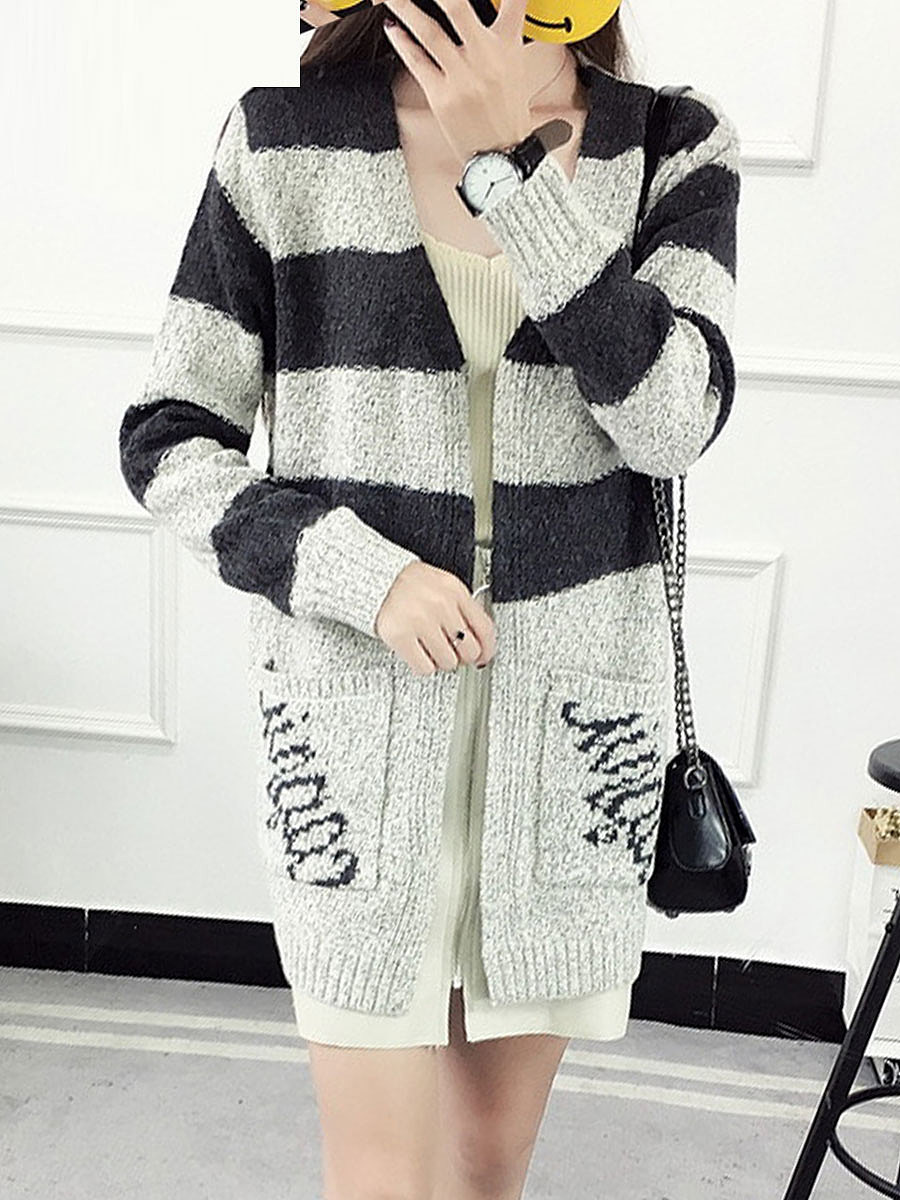 Patch Pocket  Striped  Long Sleeve Cardigans