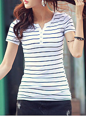 Summer  Cotton  Women  V-Neck  Decorative Button  Striped Short Sleeve T-Shirts