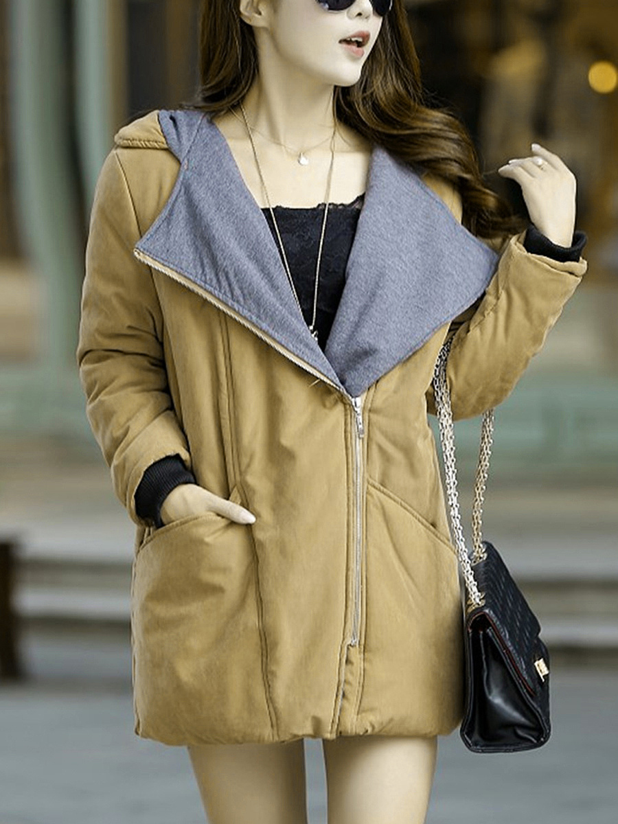 Hooded Pocket Plain Coat