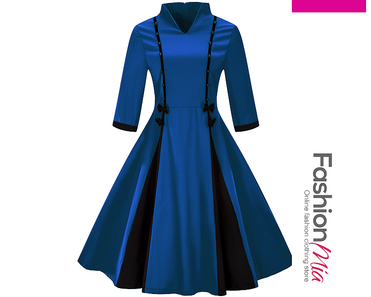 Band Collar Bow Color Block Skater Dress 4510FF36A277