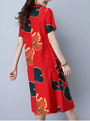 Band Collar Single Breasted Slit Pocket Printed Gorgeous Shift Dress