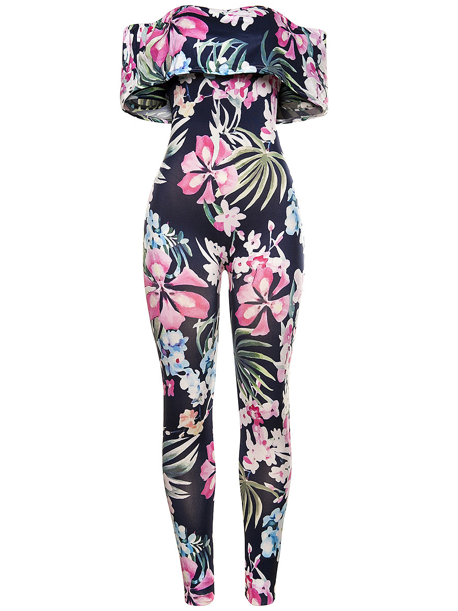 Fabulous Floral Printed Flounce Off Shoulder Slim-Leg Jumpsuit