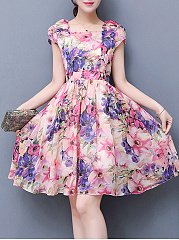 Boat Neck  Ruched  Floral Printed Skater Dress