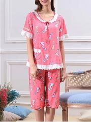 Round-Neck-Lace-Bunny-Printed-Pajama-Set