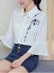Spring Summer  Chiffon  Women  Turn Down Collar  Embroidery  Bell Sleeve  Three-Quarter Sleeve Blouses
