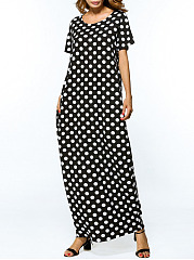 Loose Polka Dot Round Neck Pocket Maxi Dress