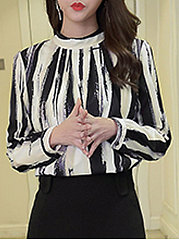 Autumn Spring  Blend  Women  High Neck  Decorative Button  Striped  Long Sleeve Blouses