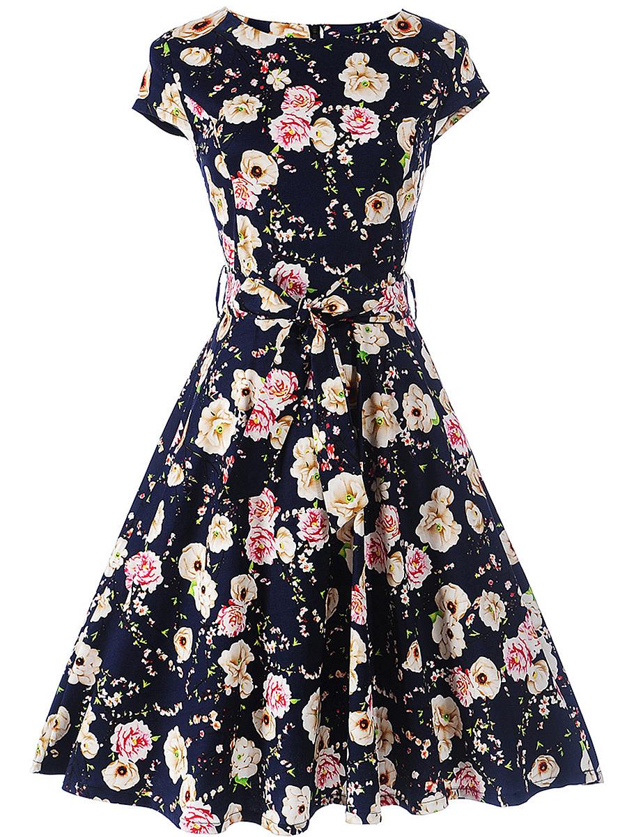 Delightful Round Neck Bowknot Floral Skater Dress