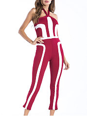 Backless  High Stretch  Plain  Slim-Leg Jumpsuits