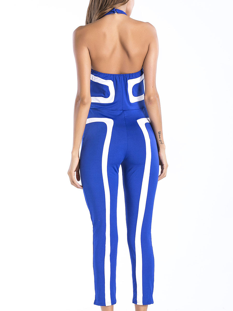 Backless  High Stretch  Plain  Slim-Leg Jumpsuits