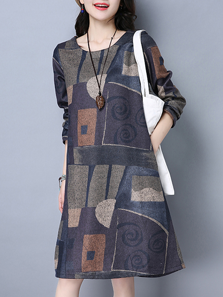 Round Neck Color Block Printed Pocket Shift Dress