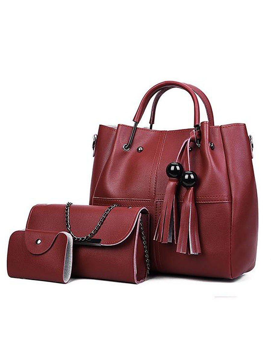Decrotive Tassel Plain Women Shoulder Bags