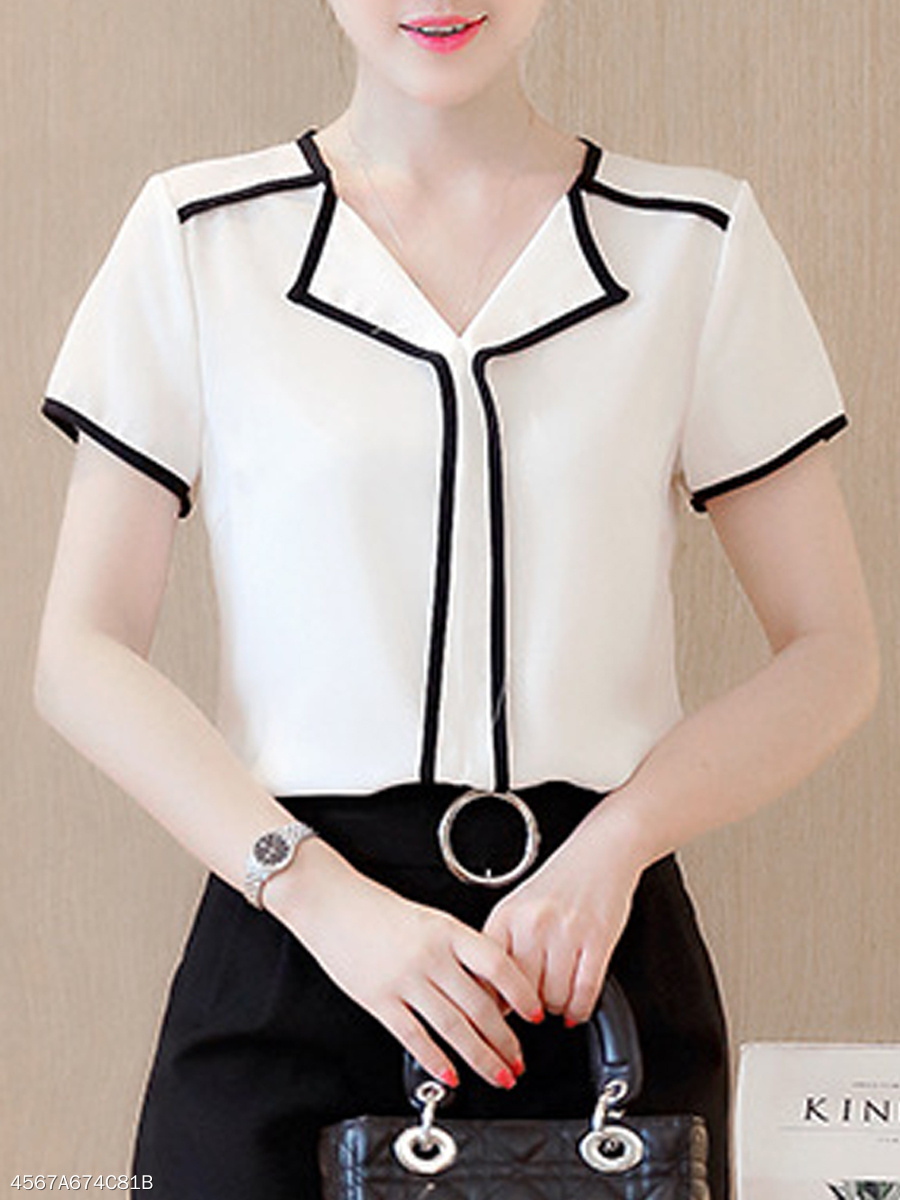 Summer  Polyester  Women  Fold-Over Collar  Contrast Piping  Plain Short Sleeve T-Shirts