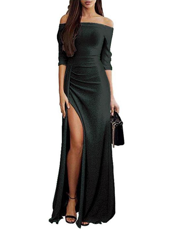 Fashionmia Off Shoulder  Slit  Plain Maxi Dress