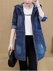 Distressed-Hooded-Flap-Pocket-Curved-Hem-Jacket