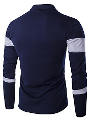 Men Polo Collar  Color Block Long Sleeve T-Shirt